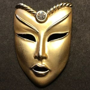 Jewelry - VTG Face Mask Brooch Gold Rhinestone Jewelry Pin